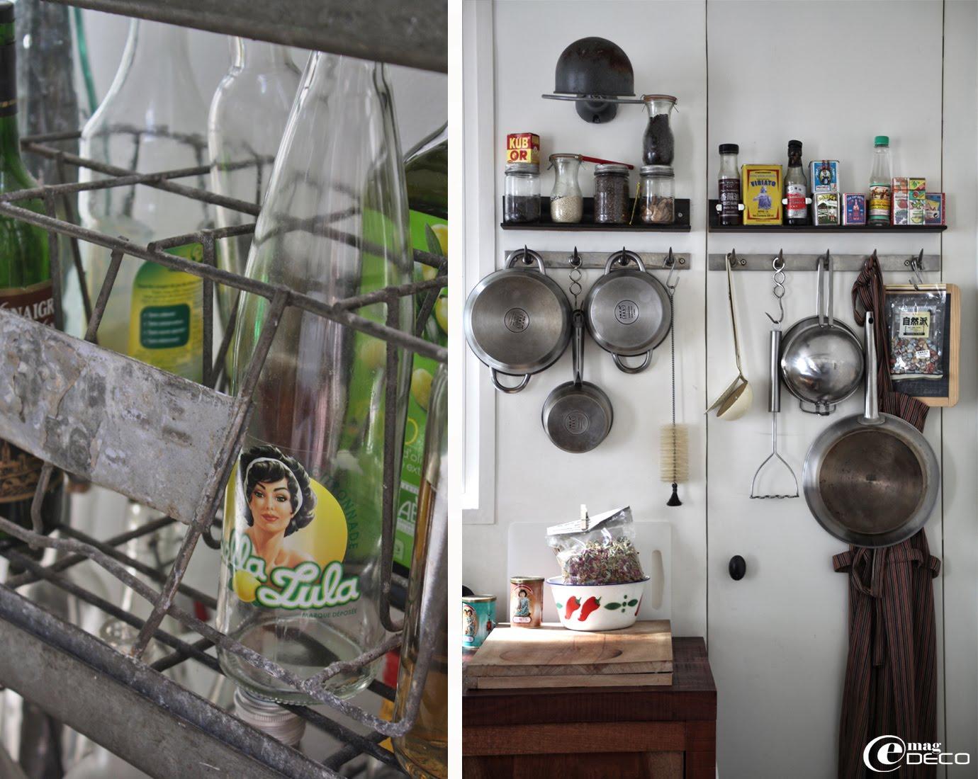 Des barres à dents de boucher détournées en supports d'ustensiles de cuisine
