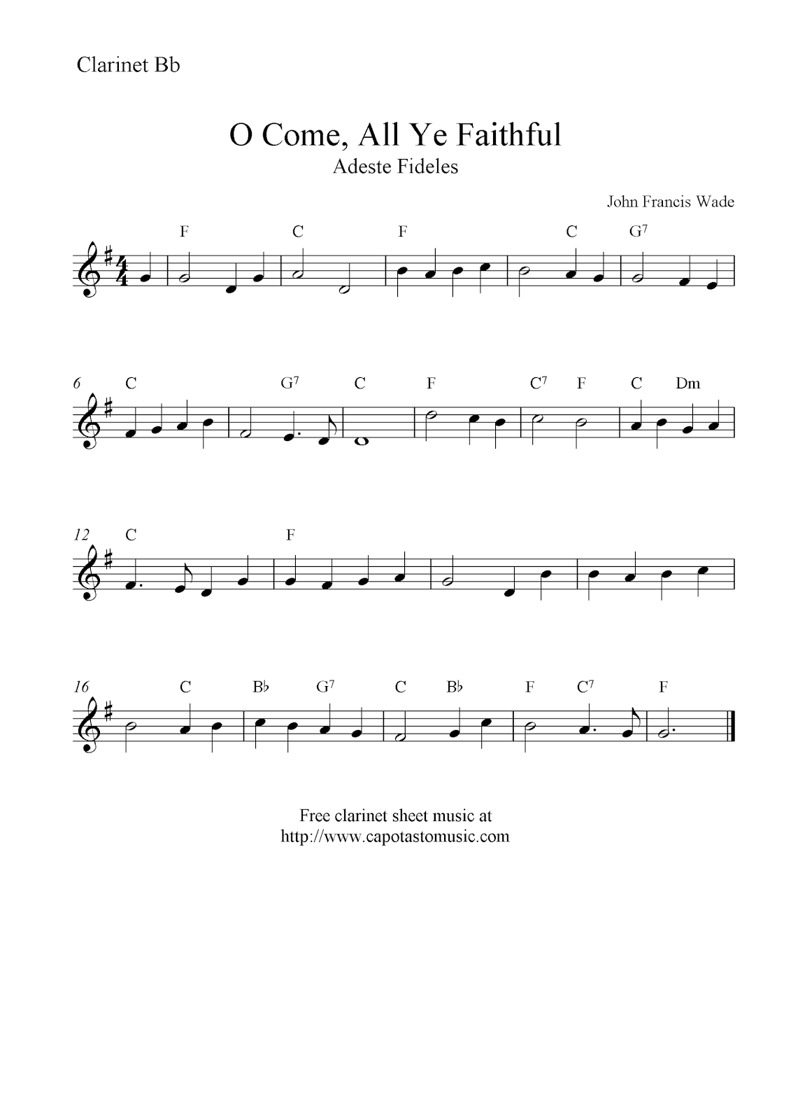 O Come All Ye Faithful Free Christmas Clarinet Sheet Music Notes