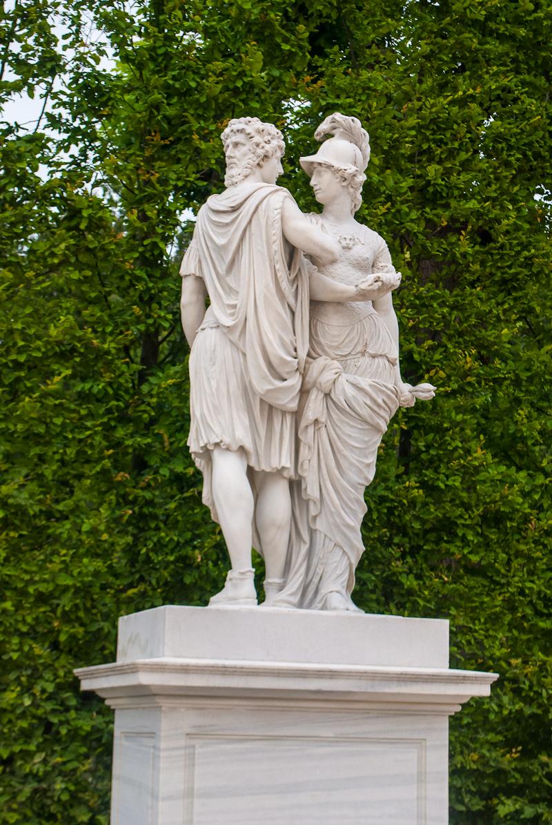 2 faced statue in the garden around Schönbrunn Palace in Vienna, Austria