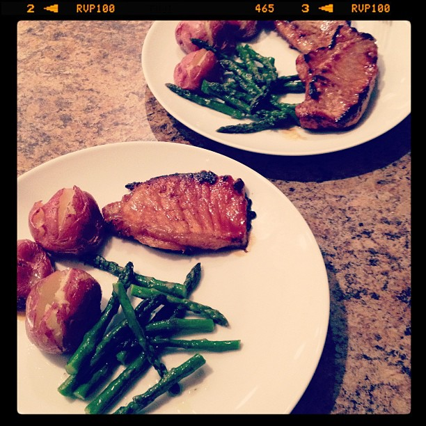 dinner, pork chops, asparagus, pink potatoes