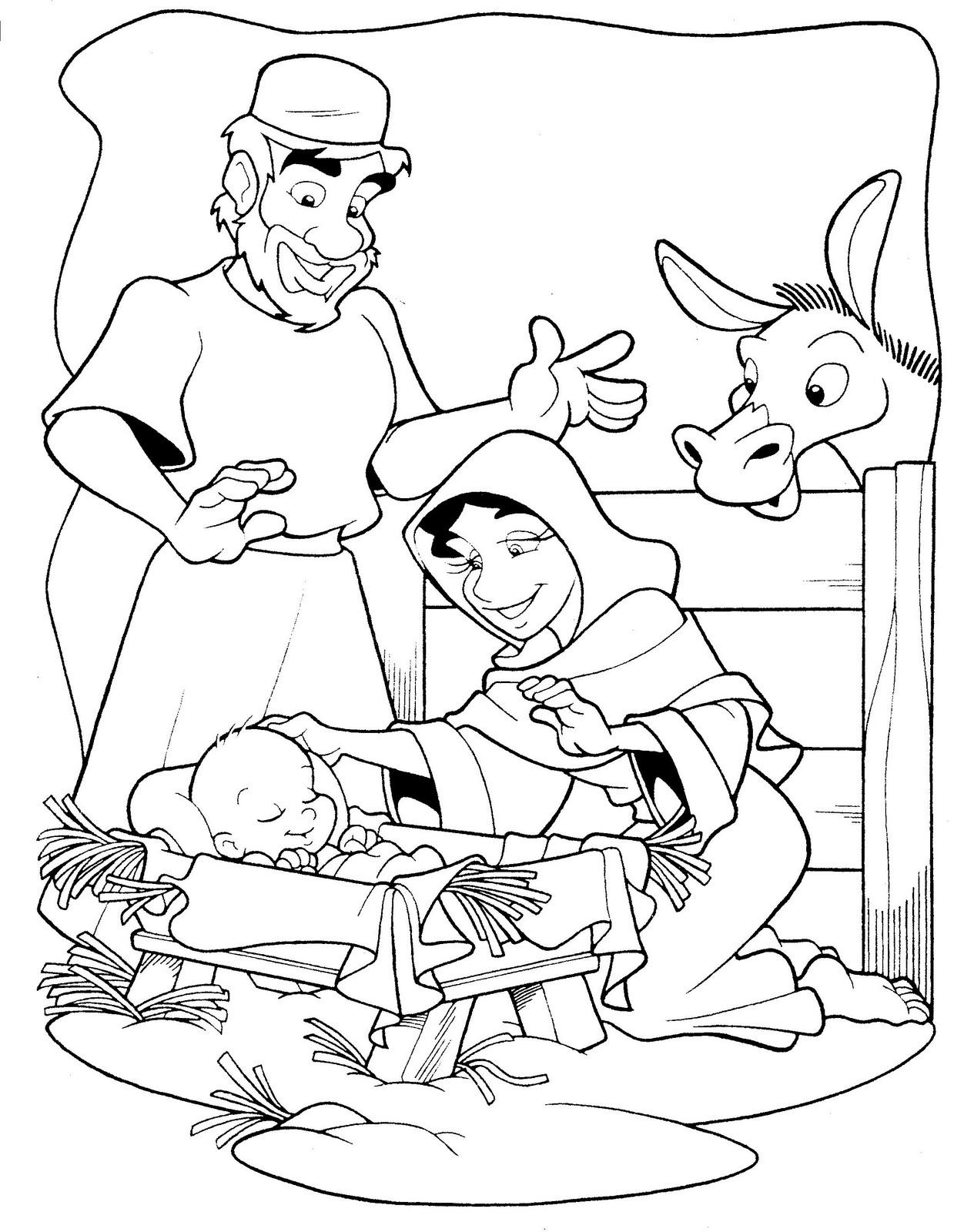 imagens para colorir de jesus na manjedoura - Desenhos para pintar Jesus nos ama