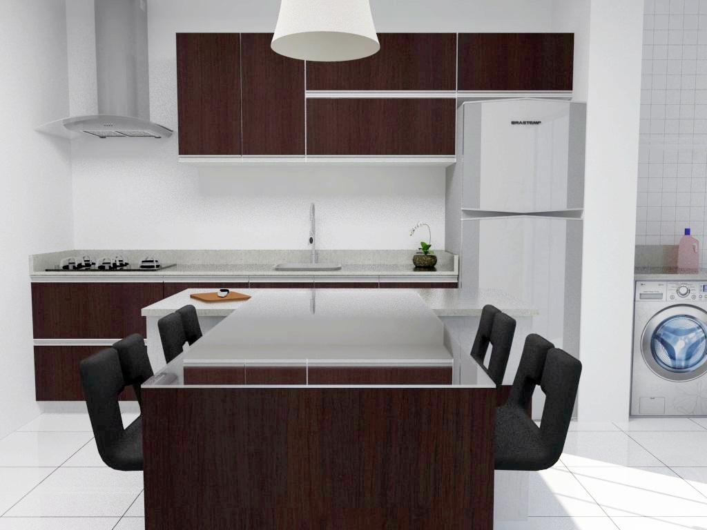 uma cozinha americana na forma de t com bancada para quatro pessoas #496382 1024 768