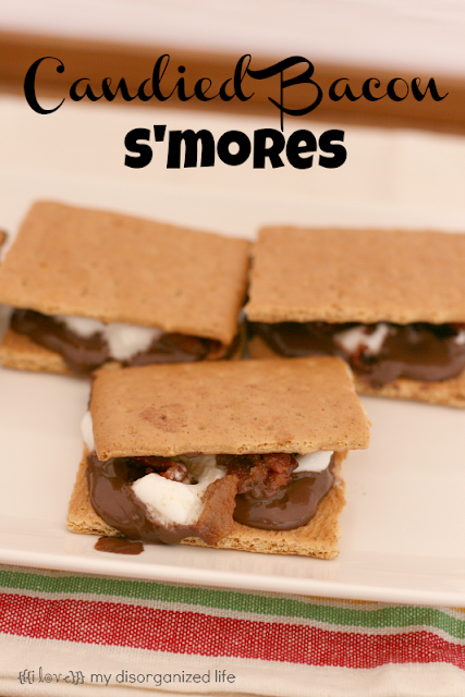 Candied Bacon S'mores from {i love} my disorganized life #baconmonth #bacon #chocolate