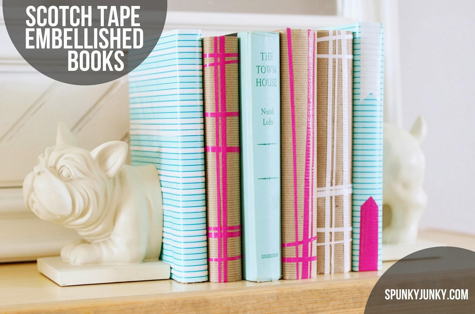 Duct Tape Book Cover Tutorial : Spunky junky diy scotch duct tape embellished book covers
