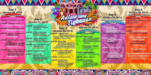 Adlaw sang Tigbauan 2013 Schedule of Activities