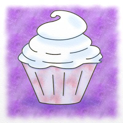 illustration gourmande d'un cup cake crèmeux, réalisée par Florence Gobled, auteur de livres pour enfants et illustrateur jeunesse à Autun en Bourgogne