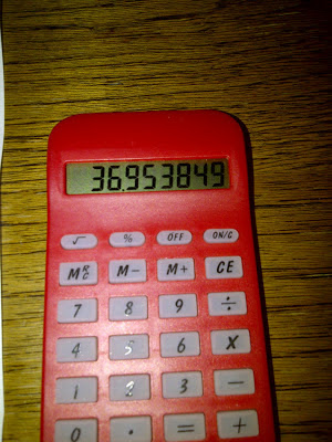 Calculator showing result of 36.95mpg
