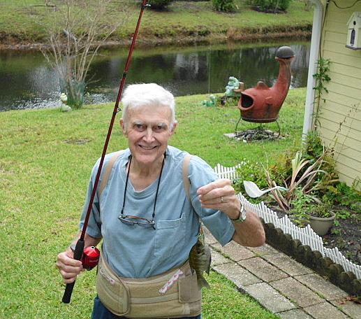 backyard fishing and cardinals