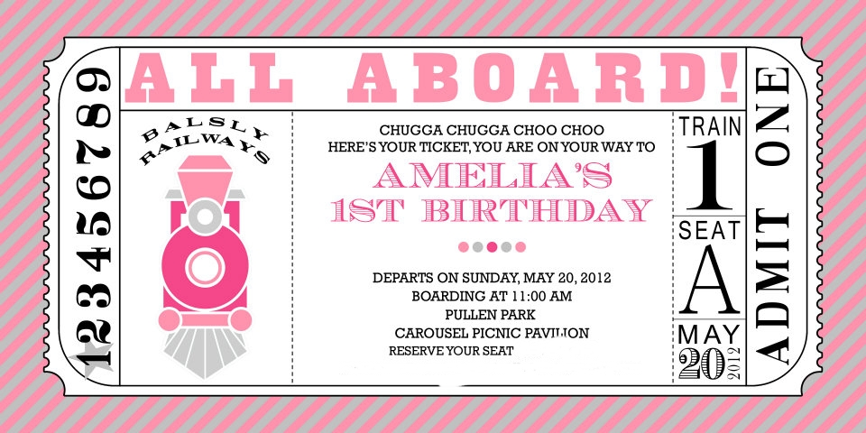 eat. sleep. decorate. train theme birthday party, Party invitations
