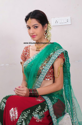 Red with Green half saree for women