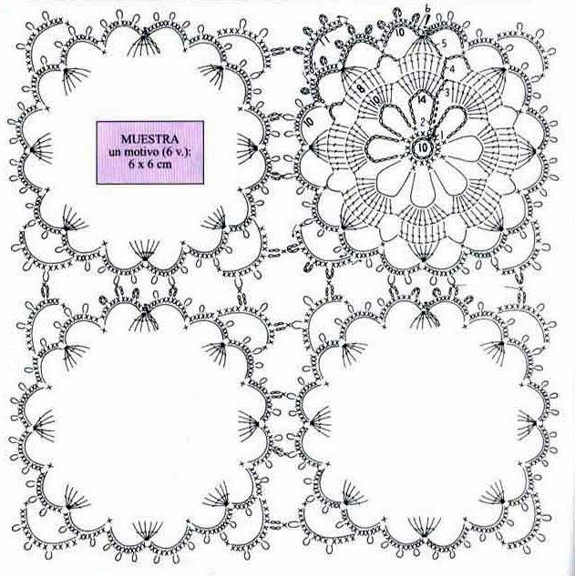 tejidos artesanales en crochet: uniendo motivos cuadrados