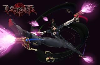 Bayonetta Sexy Girl Cleavage Pistol Black Hair Glasses Black Tights Video Game HD Wallpaper Desktop PC Background