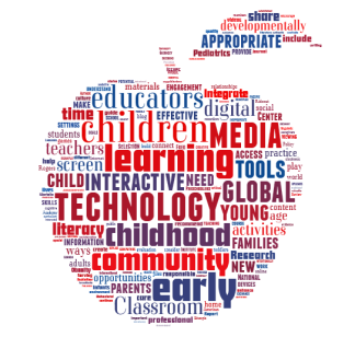 apple with words describing technology in a classroom