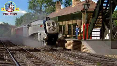 Spencer stopped at Island of Sodor Wellsworth station Toby the tram engine favorite platform stop