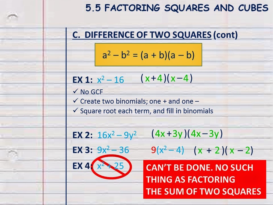 Forty Two Algebra Cnotes 55 Difference Of Two Squares