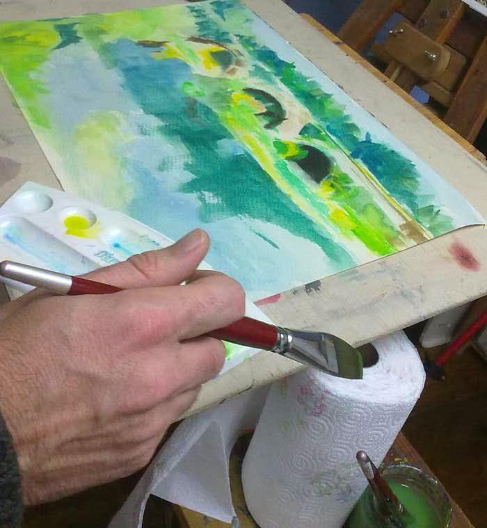 pintando un paisaje con acuarela