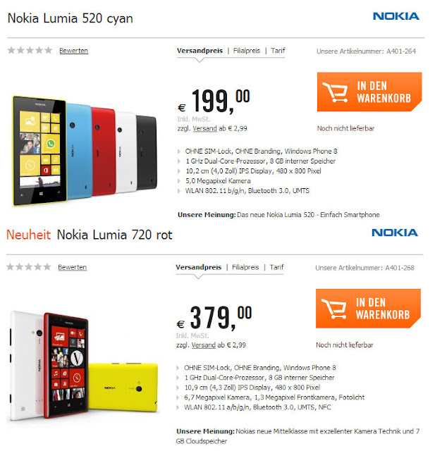 Thailand for lumia 720 is 10 900 bahts and lumia 520 is 5 500 bahts