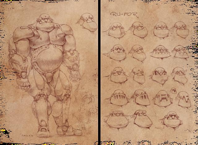Concept art para una miniatura realizada por ªRU-MOR basada en una ilustración de Chichoni. De temática Sci-Fi, cibernético y robótico. Warhammer 40000