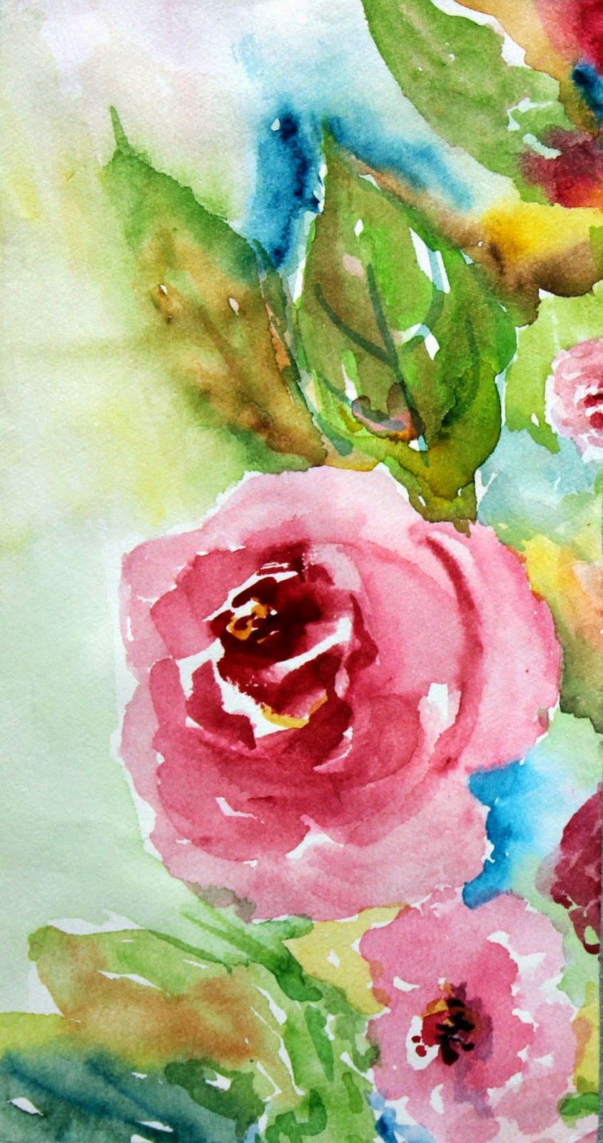 roses, painted, watercolor, handmade, art, painting, flowers
