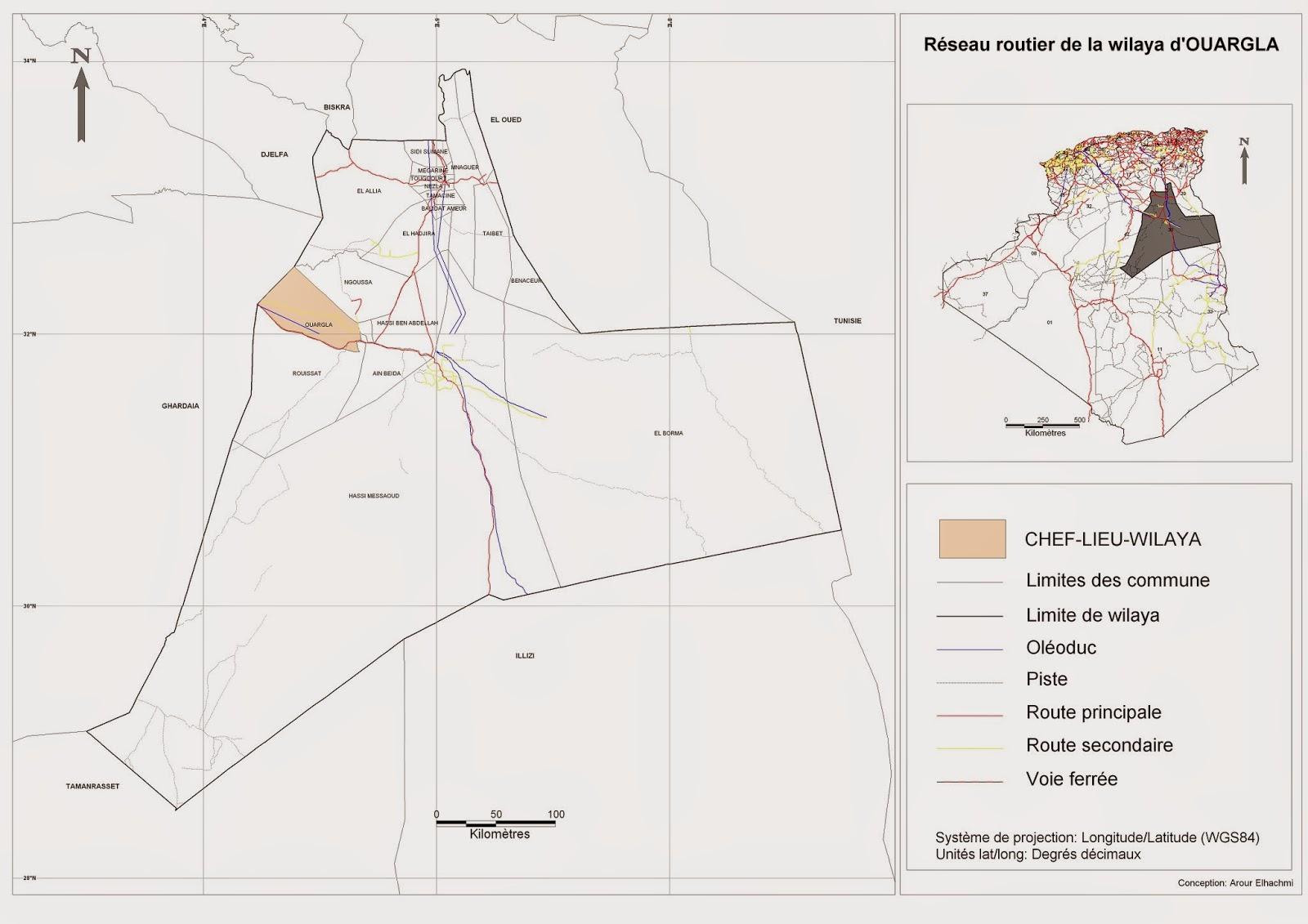 Découpage Administratif De LAlgérie Monographie Carte Du - Ouargla map