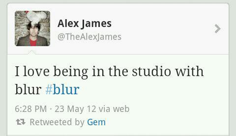 blur studio, blur recording, new blur, blur alex james twitter, blur news