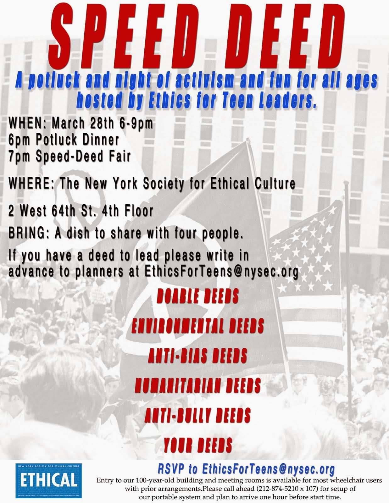 Inaugural Poster for Speed Deed, NYSEC, March 2014