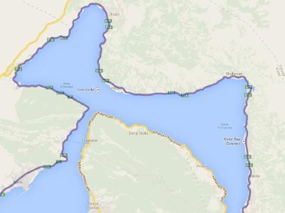Mapa de la bahia de Kotor