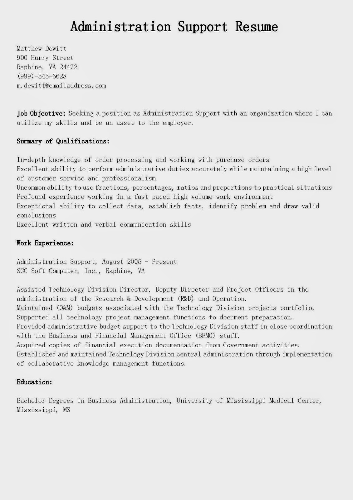 Resume Samples Administration Support Resume Sample