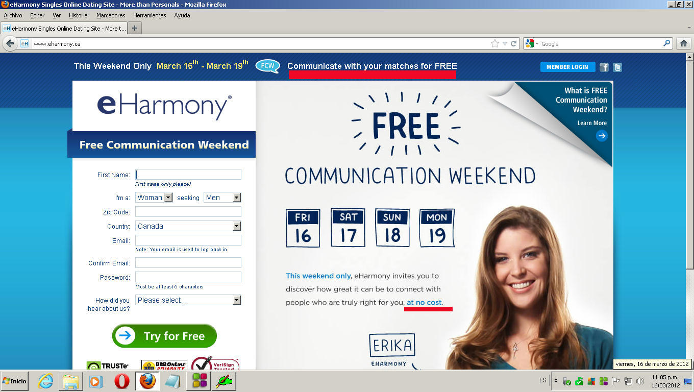Eharmony canada free weekend