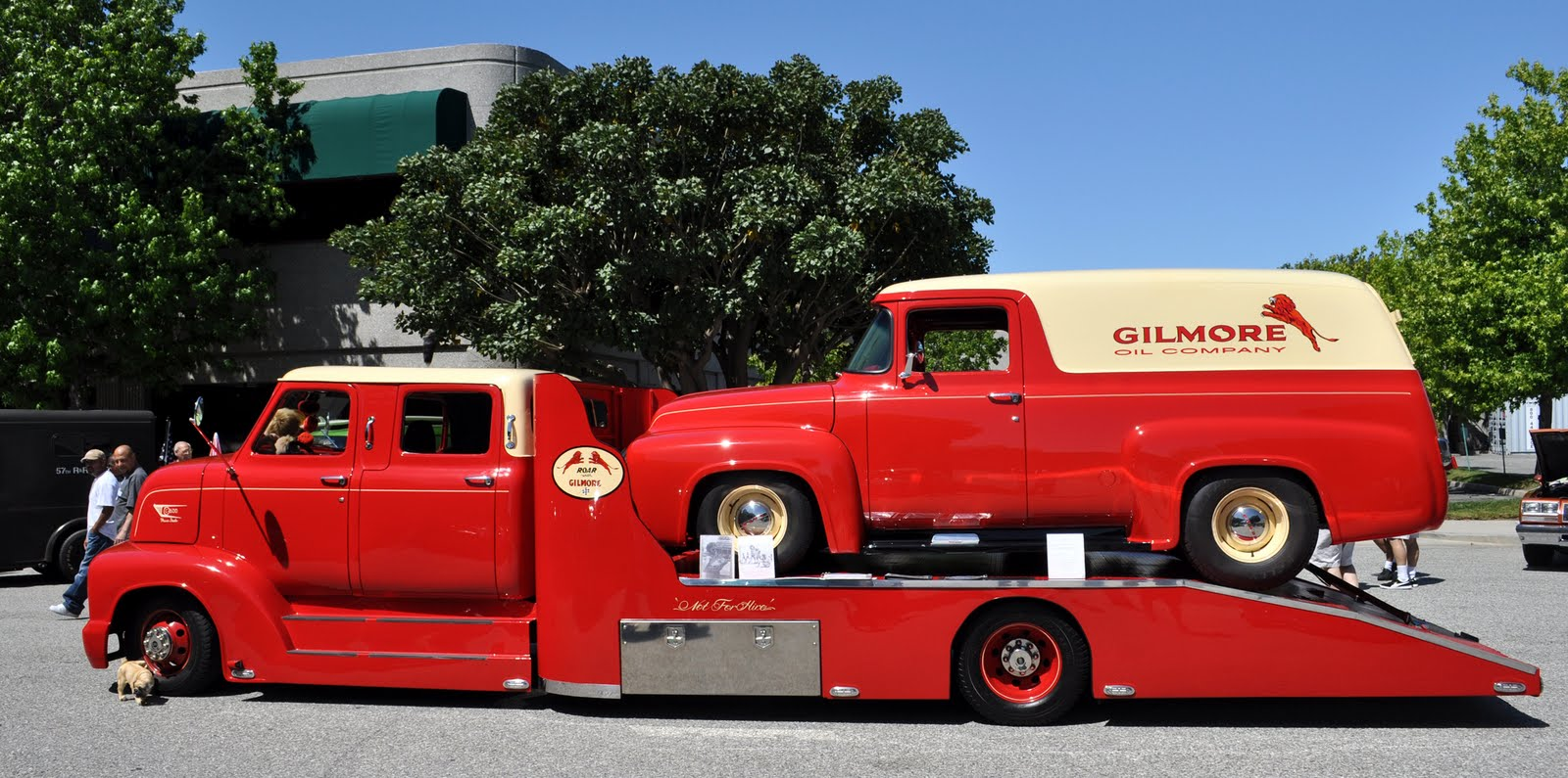 The 53 coe crew cab in gilmore colors has a matching panel truck now