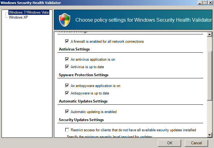 Windows Security Health Validators