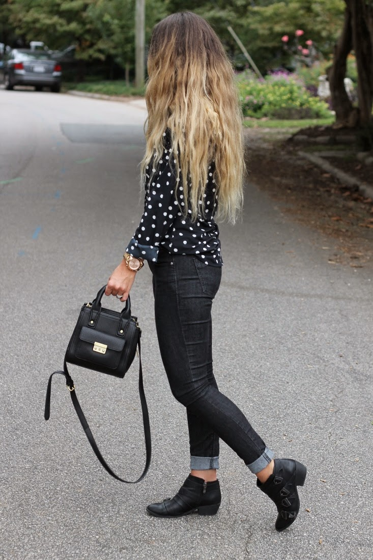 Ombre Hair Color with Black Jeans & Moto Ankle Boots