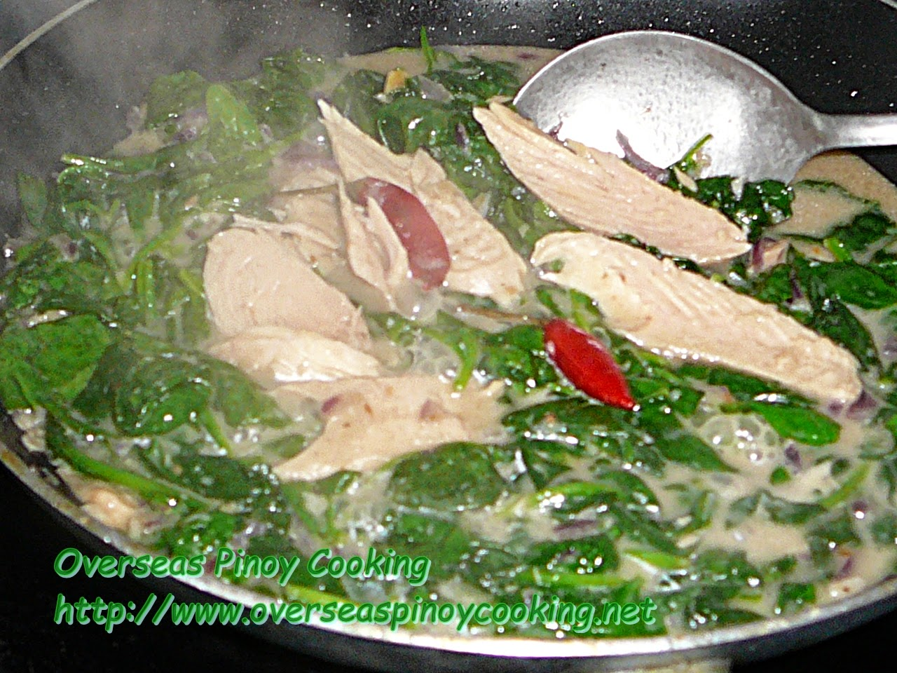 Ginataang Canned Smoked Tuna with Spinach - Cooking Procedure