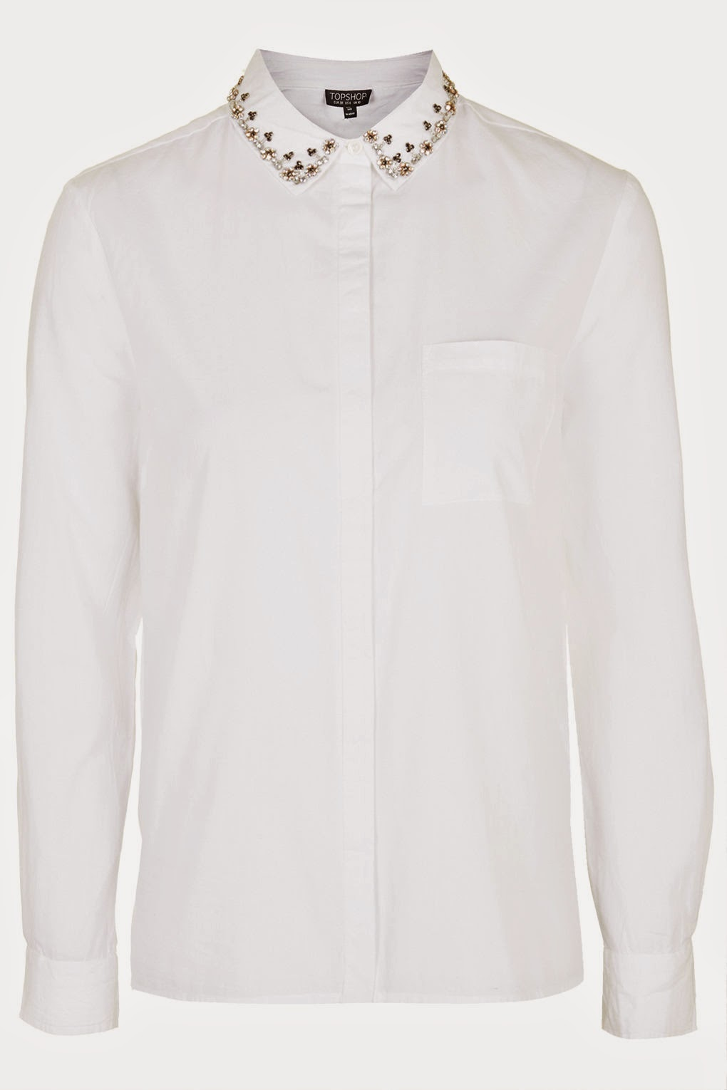 white embroidered collar shirt,
