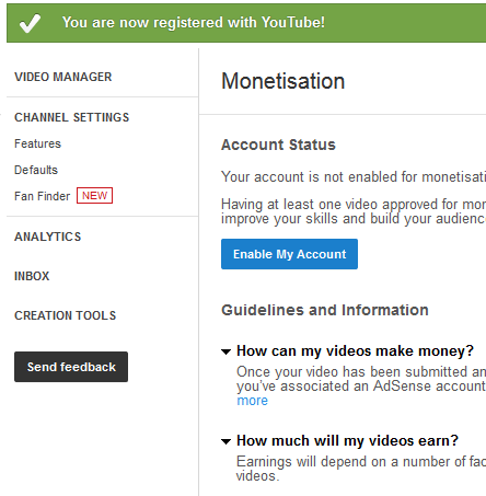 YouTube AdSense Monetisation Page