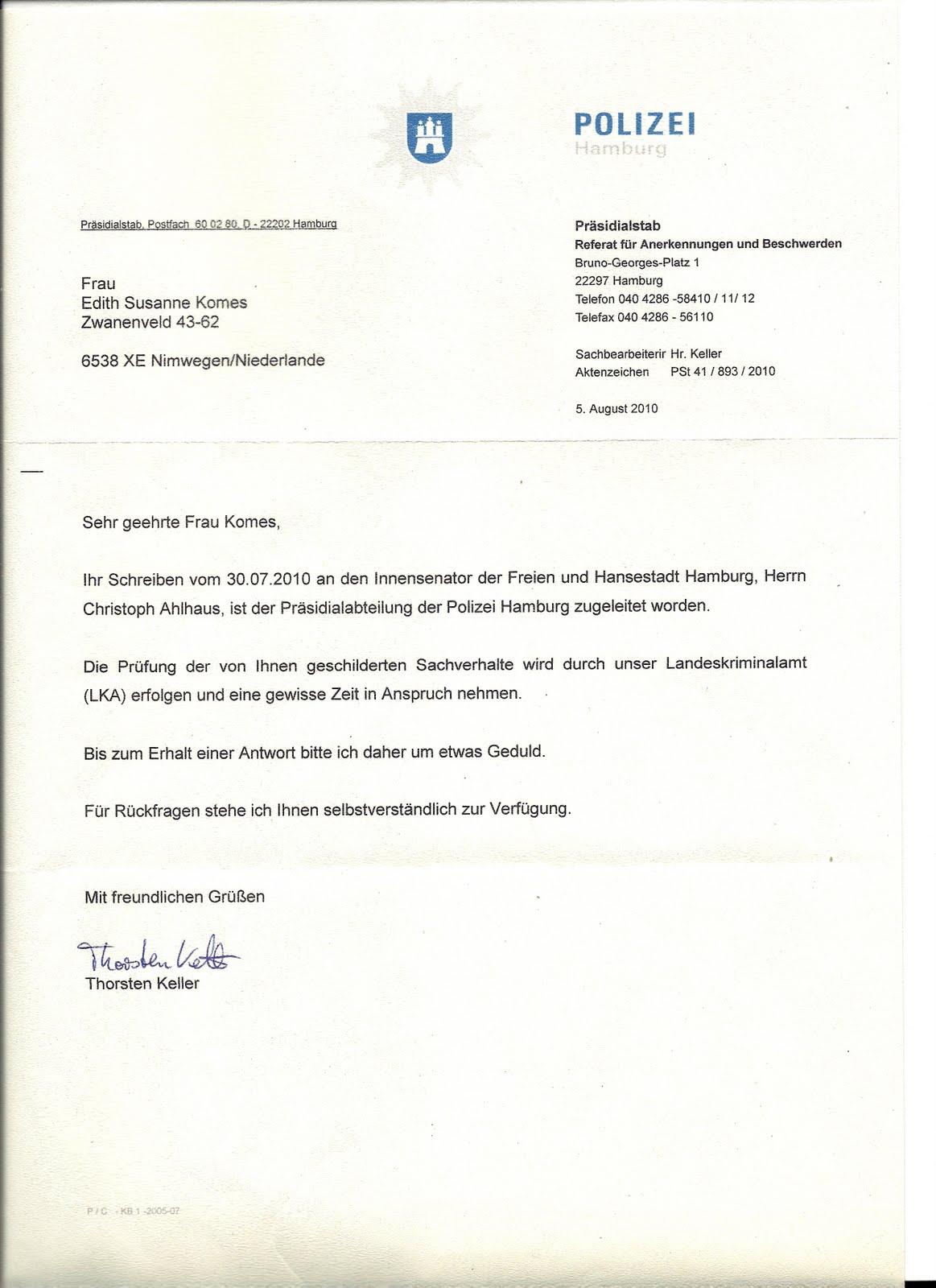 Brief Mit Einschreiben : Folter und mord begangen von wes clark deutscher