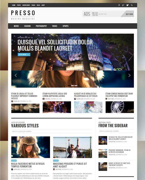 Presso clean wordpress theme for tech blog