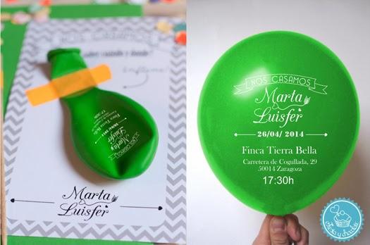 Invitación de boda globo