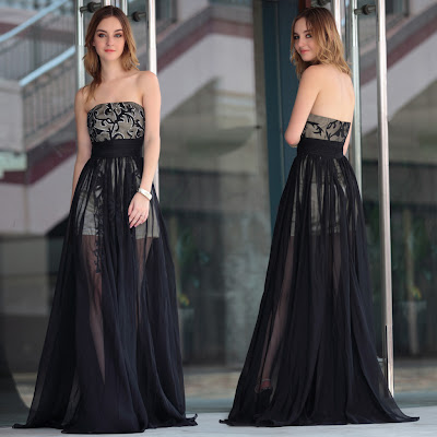 Black Strapless Floor Length Dress