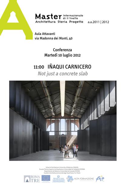 I aqui carnicero news lecture at master internazionale for Master architettura