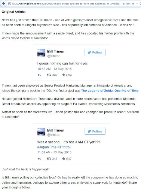 Nintendo Life reports Bill Trinen left Twitter tweet Trintroll