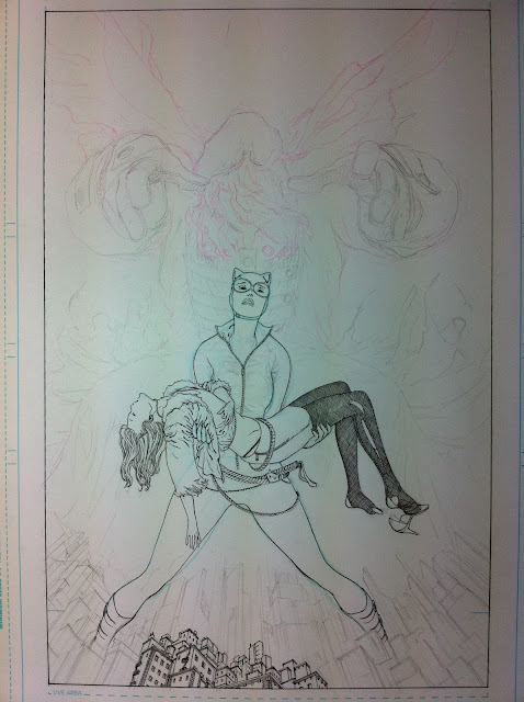 CATWOMAN #11 cover: sketches, pencils, inks by Guillem March