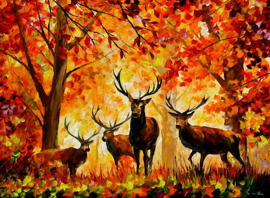 autumn fall painting wallpaper leonid afremov deers