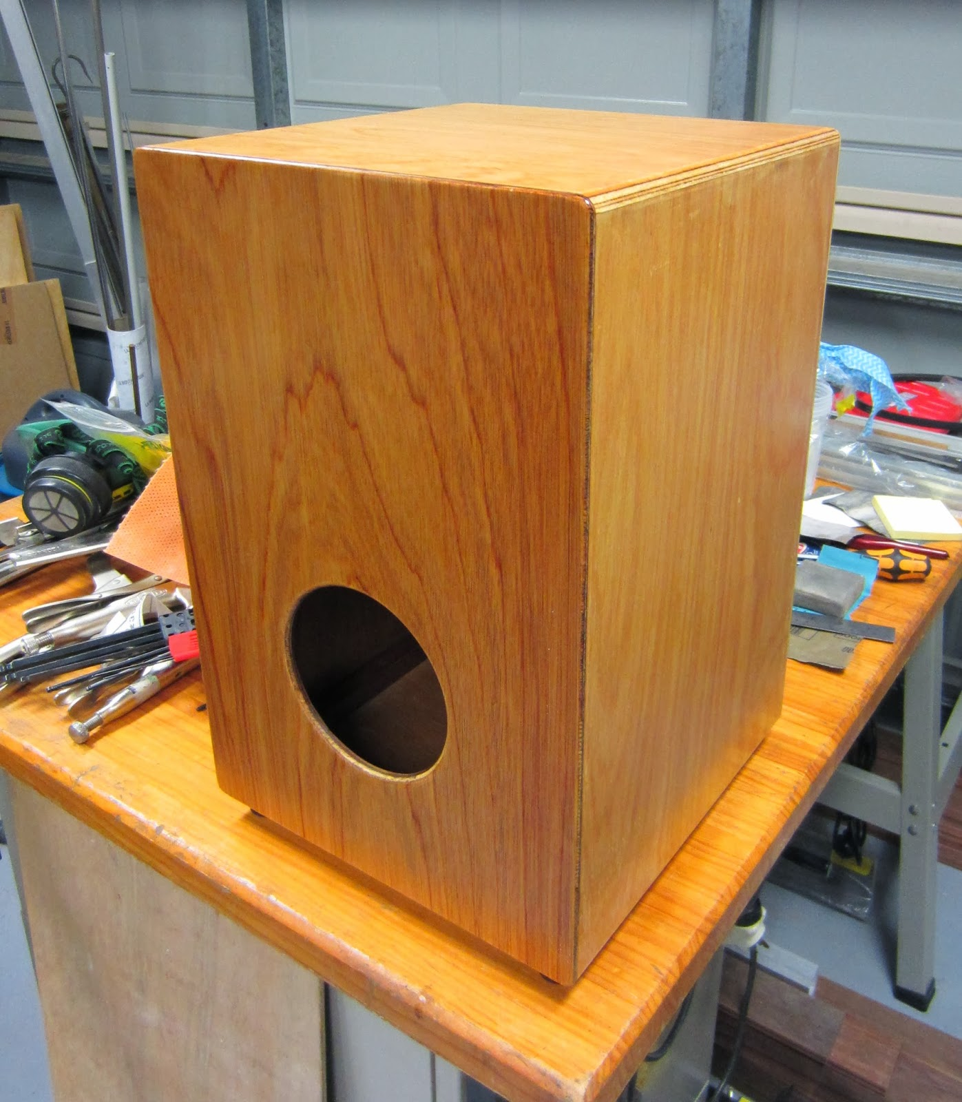 After some assembly work, a cajon emerges from the mess: