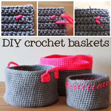 Neon touch baskets - Free crochet pattern