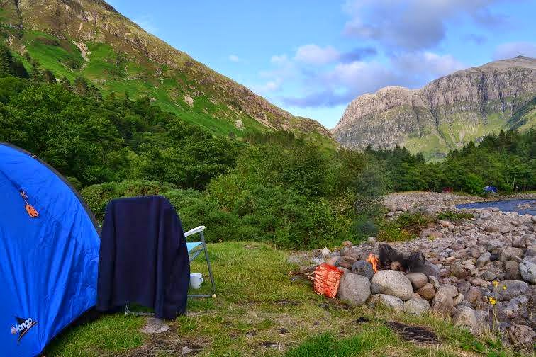 Red Squirrel Campsite in Glencoe, Scotland U.K. Camping with campfires