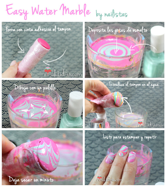 Easy Water Marble | nail art paso a paso