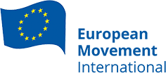 a photo of the logo for the European Movement International, which shows an EU flag to the right and to the left is written European Movement International