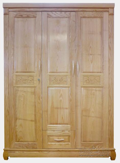 Tủ quần áo gỗ sồi Nga 3 cánh x 1 ngăn kéo 1.54x2m