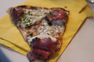 Beef tenderloin, mashed potato, and truffle oil pizza at Mistral, Boston, Mass.